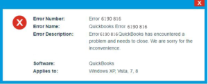 QuickBooks Error 6190 and 816