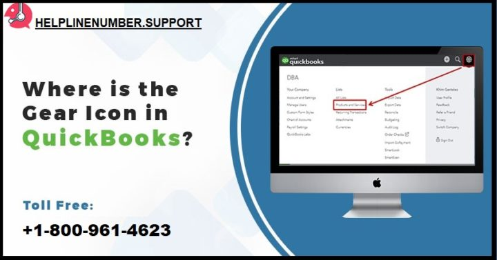 Where is the Gear icon in QuickBooks?